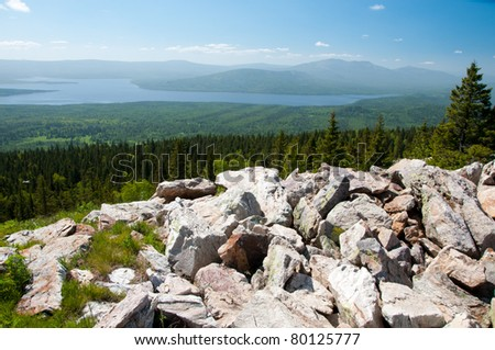 Beautiful view of the lake Zuratkul from the top of Zuratkul mountain ridge, South Ural, Russia - stock photo