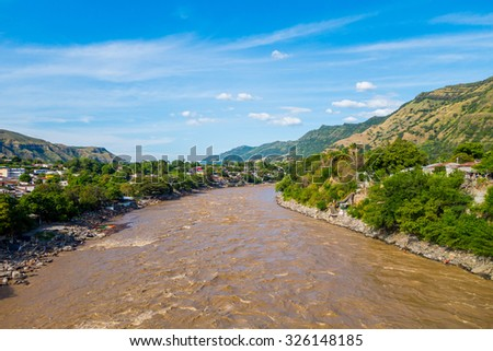 Beautiful view of the Magdalena river near the town of Honda, Colombia - stock photo