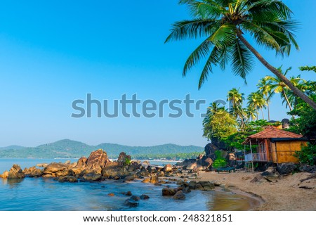 beautiful view of the morning beach Goa - stock photo