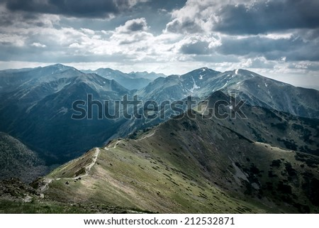 Beautiful view of the mountains - stock photo
