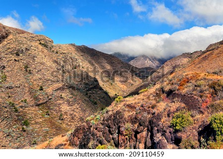 Beautiful view of the mountains, La Gomera, Spain - stock photo