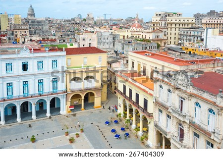 Beautiful view of the old city of Havana - stock photo