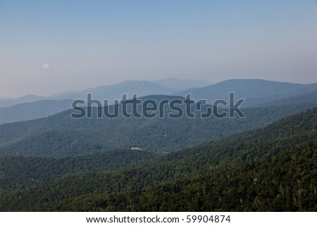Beautiful view of the popular Blue Ridge  Mountain in Shenandoah national park - stock photo