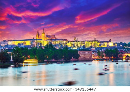 Beautiful view of the Prague Castle from the Charles Bridge.Prague.Czech Republic. - stock photo