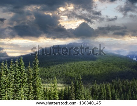 Beautiful view of the Rocky Mountains in Alberta  Canada - stock photo