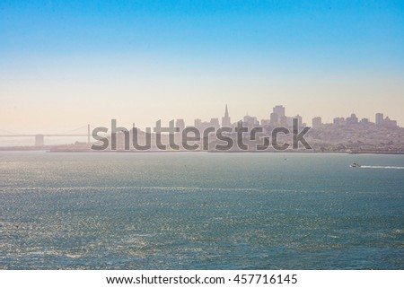 Beautiful view of the San Francisco city skyline from the other side of the bay.