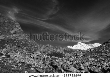 Beautiful view of the sixth highest in the world peak the Cho Oyu (8153 m) - Gokyo region, Nepal, Himalayas (black and white) - stock photo