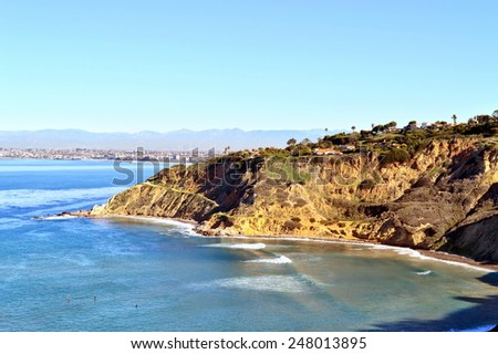 Beautiful view of the sparkling blue Pacific Ocean from the cliffs of the Palos Verdes Peninsula in southern California.  - stock photo