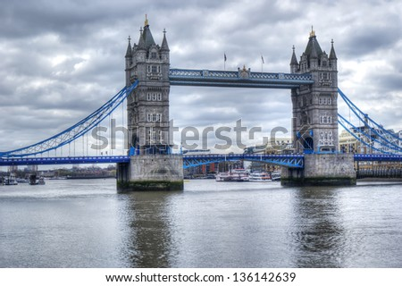 beautiful view of the tower bridge in hdr. London