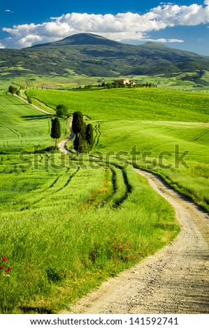 Beautiful view of the valley in Tuscany - stock photo