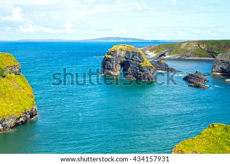 beautiful view of the virgin rock with cliffs and headland on the wild atlantic way - stock photo
