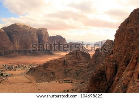 Beautiful view of the wadi rum in Jordan - stock photo