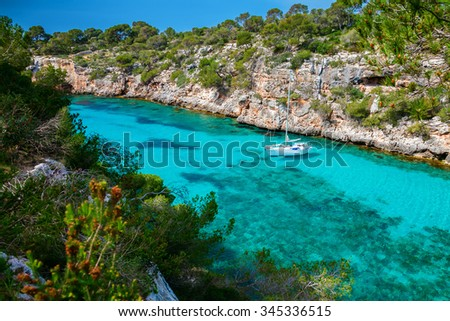 beautiful view of the yacht in a bay, Mallorca, Spain - stock photo
