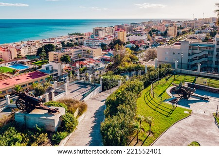 Beautiful view of Torremolinos coast. Malaga, Spain  - stock photo