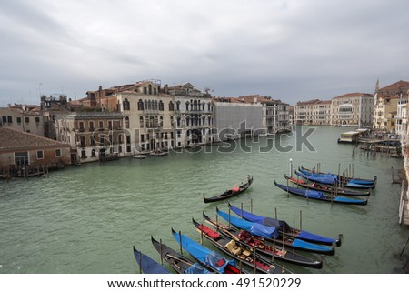 Beautiful View of Traditional Gondola on Famous Canal Grande-Venice,Italy