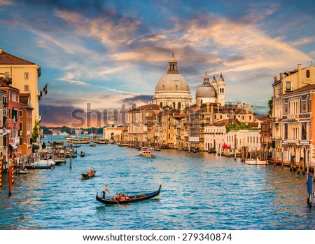 stock photo beautiful view of traditional gondola on famous canal grande with basilica di santa maria della 279340874 - Каталог — Фотообои «Венеция»