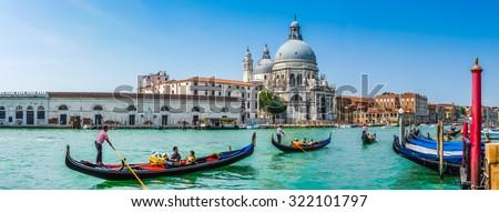 stock photo beautiful view of traditional gondolas on canal grande with historic basilica di santa maria della 322101797 - Каталог — Фотообои «Венеция»