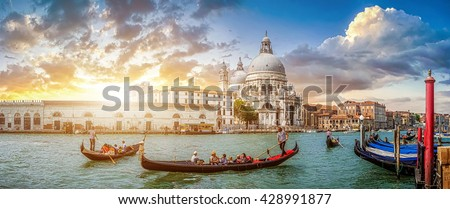 stock photo beautiful view of traditional gondolas on famous canal grande with historic basilica di santa maria 428991877 - Каталог — Фотообои «Венеция»
