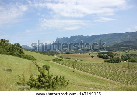 Beautiful view of Trois Becs Mounts in Drome Valley in south of France near Crest and Die, Mirabel et Blacons - stock photo