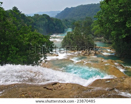 beautiful view of turquoise waterfalls - stock photo