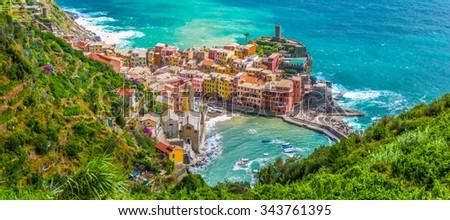 Beautiful view of Vernazza, one of the five famous fisherman villages of Cinque Terre, Liguria, Italy - stock photo