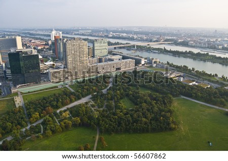 beautiful view of Vienna and the Donau from above - stock photo