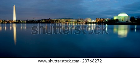 Beautiful view of Washington DC at night, showing Washington Monument, Capitol Building, and The Jefferson Memorial - stock photo