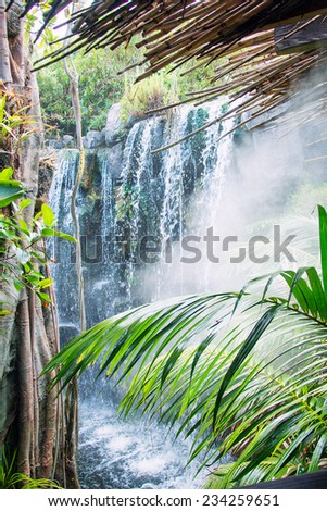 Beautiful view of waterfall in jungle. - stock photo