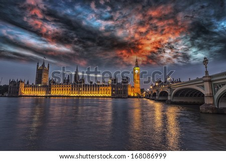Beautiful view of Westminster by night. - stock photo