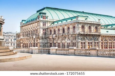 Beautiful view of Wiener Staatsoper (Vienna State Opera) in Vienna, Austria - stock photo