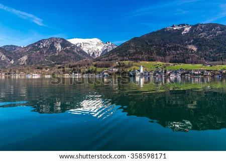 Beautiful View Of Wolfgang Lake With St. Wolfgang Im Salzkammergut And Grosser Hollkogel In The Background-Salzkammergut, Austria,Europe - stock photo