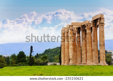 Beautiful view of Zeus temple in Athens, Greece - stock photo