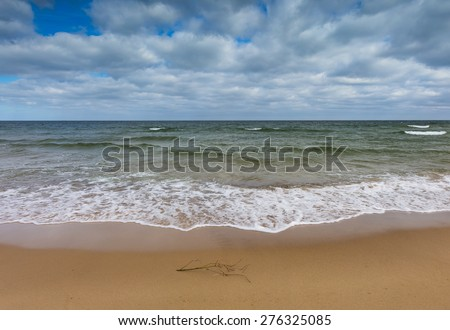 Beautiful view on Baltic sandy coast photographed on middle of the day - stock photo