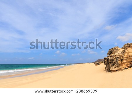 Beautiful view on beach and ocean, Boavista, Cape Verde - Cabo Verde - stock photo
