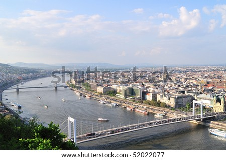 Beautiful view on Budapest and river Danube from hill Gellert