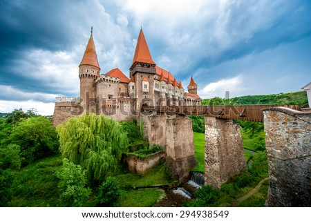 Beautiful view on Corvin castle in cloudy weather. Romanian landmarks - stock photo