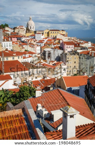 Beautiful view on historic part of Lisboa city, Portugal - stock photo