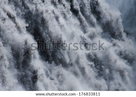 Beautiful view on icelandic waterfall in iceland dettifoss  - stock photo