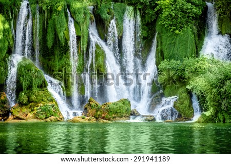 Beautiful view on Kravica waterfall in Bosnia and Herzegovina - stock photo