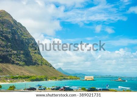 Beautiful view on Napali Coast on Kauai island on Hawaii  - stock photo