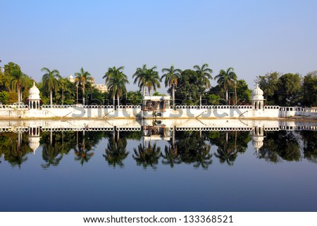 beautiful view on Pichola lake in Udaipur India - stock photo