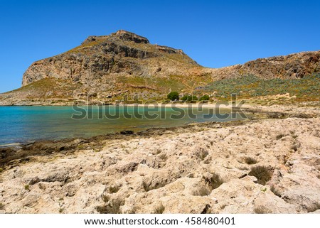 Beautiful view on pirate island of Imeri Gramvousa and venetian fort on a mountain,Greece.Europe.