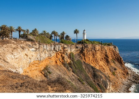Beautiful view on point vicente in rancho palos verdes and pacific ocean Los Angeles, California. - stock photo