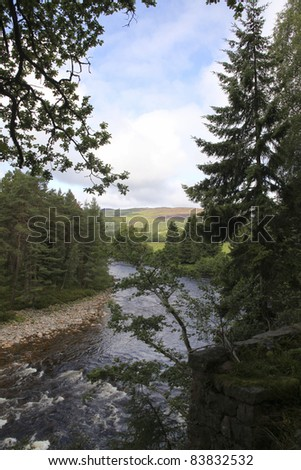 Beautiful view on river in Scotland - stock photo
