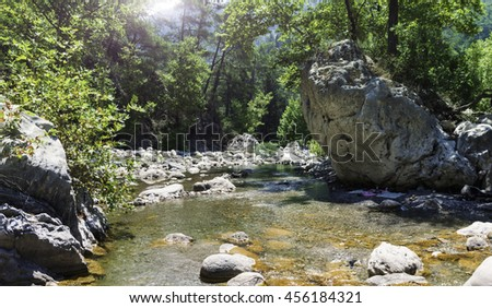 Beautiful view on river in summer day, Kemer-Antalya, Turkey.