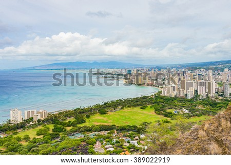 Beautiful view on the city of Honolulu from the Diamond head crater on Hawaii
