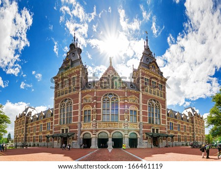 Beautiful view on the completely renovated National state museum in Amsterdam, the Netherlands. - stock photo