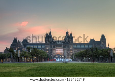Beautiful view on the national state museum early in the morning in Amsterdam, the Netherlands - stock photo