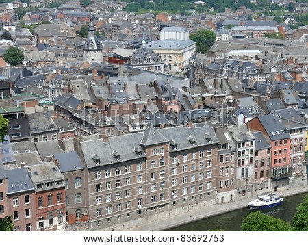 Beautiful view on the roofs of city of Namur, capital of Wallonia. Belgium. Europe. - stock photo