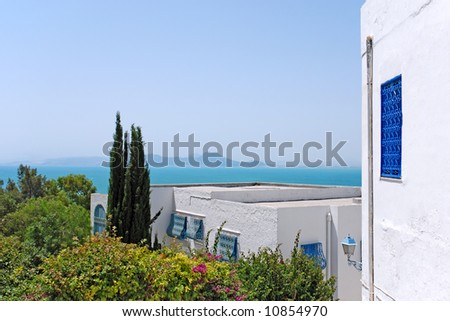 Beautiful view on the sea of Sidi Bou Said, Tunisia - stock photo